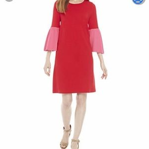 ❤️CROWN & Ivy Colorblock Bell Sleeve Dress Red NWT